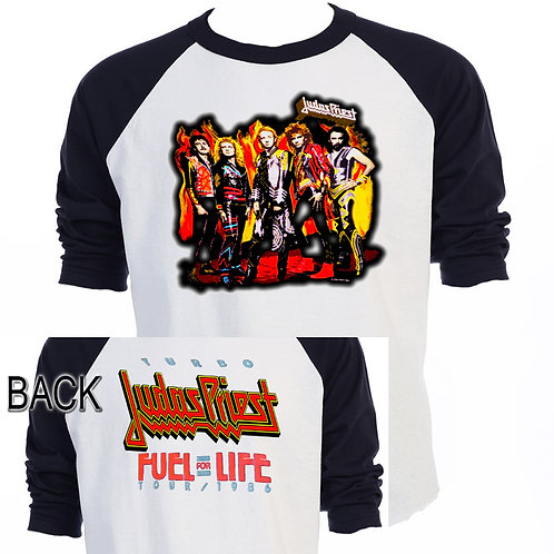 JUDAS PRIEST,86 Fuel For Life ,Baseball, SHIRT,Size: S -3X,548Blk