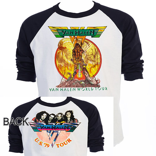 "VAN HALEN, ""1979 World Tour"" Vintage Art Baseball Shirt ""T-1794"