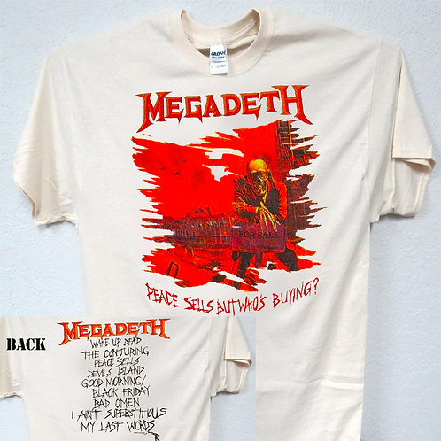 "MEGADEATH,""Peace Sells 86 RETRO TOUR T-SHIRT T-579"