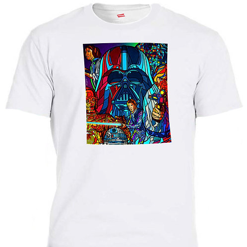 STAR WARS,Inspired Stained Glass,Retro T-SHIRT,S,5xl,T-55 White