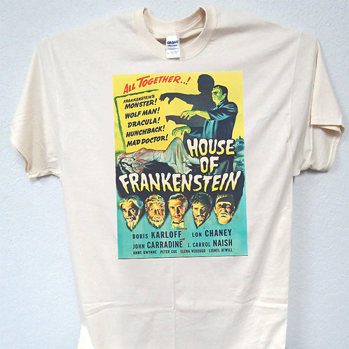 "HOUSE OF FRANKENSTEIN,""Monsters"" Retro T-SHIRT,S-5X,T-1037Ivy"