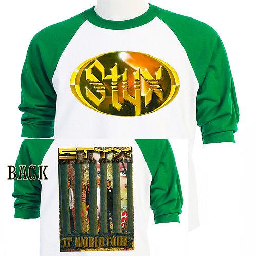 "STYX,""77 Grand Illusion WORLD TOUR BASEBALL T"