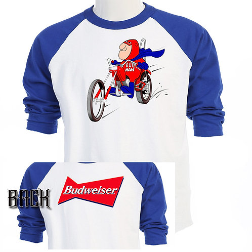 BUD MAN, Cool Blue Baseball T-SHIRT,T-845