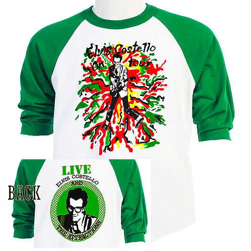 ELVIS COSTELLO,Classic 70's TOUR Baseball T-SHIRT