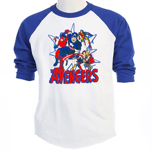 The AVENGERS,Marvel Comic SILVER AGE Baseball T-SHIRT, S-3XL,T-441BLU