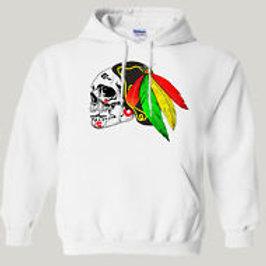 CHICAGO BLACKHAWKS,Inspired Skull Logo HOODIE/Pullover,ALL SIZES,T-904Wht