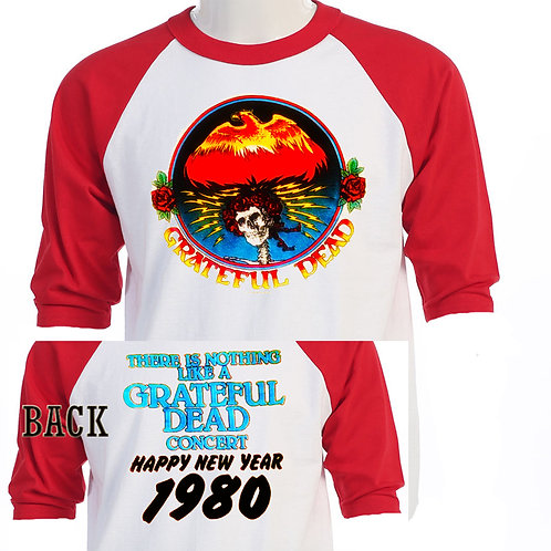 """THE GRATEFUL DEAD,""""1980 New Year"""" T-638Red"""