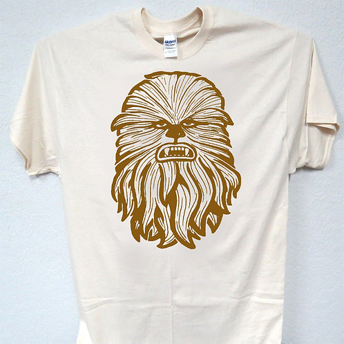 "STAR WARS ""Chewbacca"" Inspired, COOL Line Drawing Ivory Men's T-Shirt, T-1536"