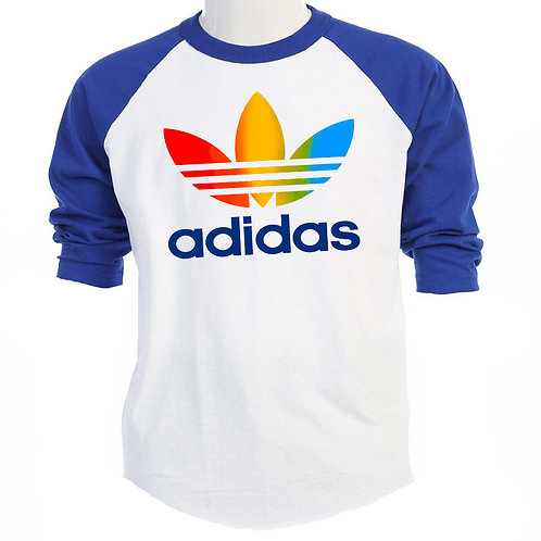 ADIDAS,1970's Classic Rainbow Logo, Retro Baseball Shirt/and T-Shirt T-954Blu