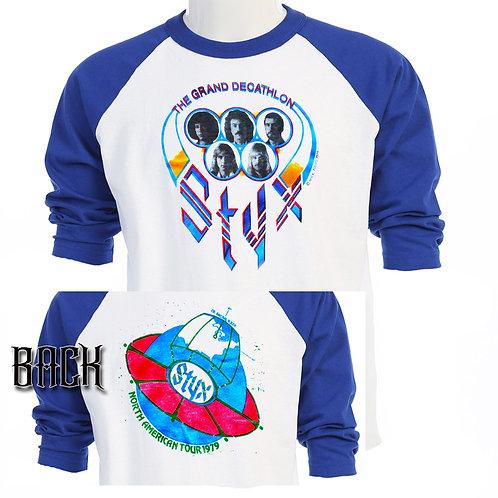 STYX, North American Tour 1979, Blue Sleeve Baseball t-shirt T-439
