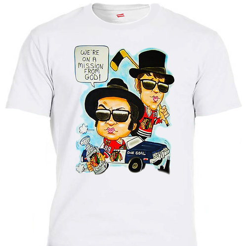 BLUES BROTHERS Wearing Chicago Blackhawk's T-SHIRT, All Sizes