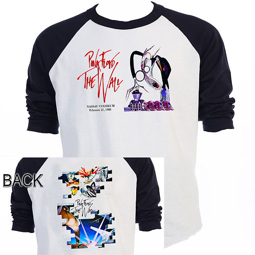 "PINK FLOYD The Wall Tour 1980 ""Nassau NY"" Vintage Art Baseball Shirt ""T-1071Blk"
