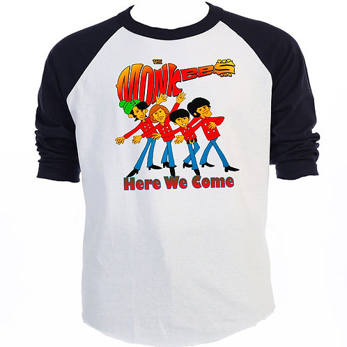 "THE MONKEES,""Here We Come"", Retro Baseball Shirt, S-3XL, T-959BLK"