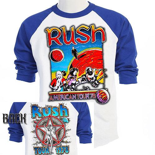 RUSH,American Tour 1978 RETRO Concert T-497Blue