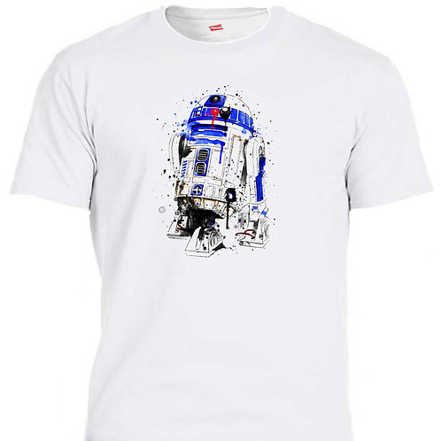 """STAR WARS """"R2-D2"""" Inspired, COOL Watercolor Unique Ivory Men's T-Shirt,T-1547Wht"""