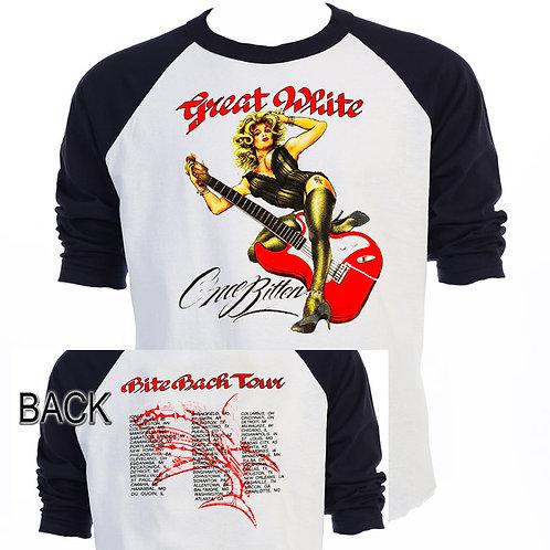 "GREAT WHITE,""Bite Back Tour"" Baseball  T-675Blk"