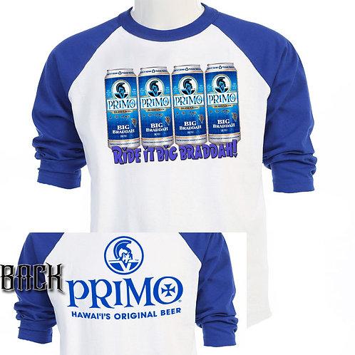 "HAWAII PRIMO BEER,""Ride it Big Braddah"" T-SHIRT,S-3XL,T-856Blue"