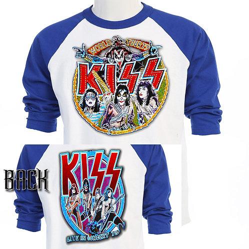 KISS,Dynasty 1979 US Alt TOUR SHIRT ,BASEBALL T-SHIRT T-456Blu