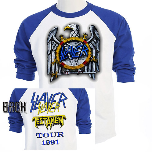 SLAYER w/ TESTAMENT, 91 US Tour RETRO T-470Blue
