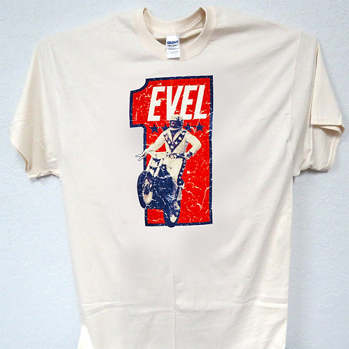 EVEL KNIEVEL, On Motorcycle, RETRO, Cool T-SHIRT T-800