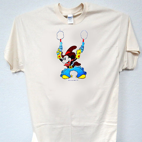 MICKEY MOUSE, DISNEY SHOOT EM UP, CLASSIC, IVORY, T-SHIRT,Size: S-5XL, T-886