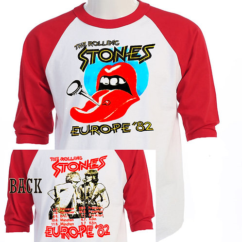 """THE ROLLING STONES Europe 82 TOUR"""" RETRO T-509Red"""