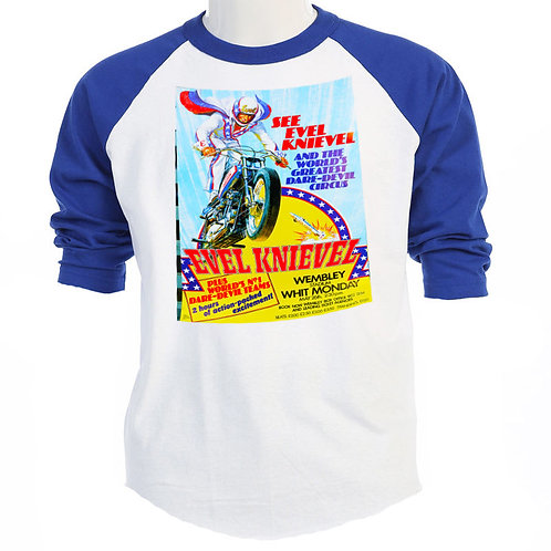 "EVEL KNIEVEL""70's Poster Art"" LONDON UK,Classic Show T-SHIRT,S-3XL, T-47Blue"