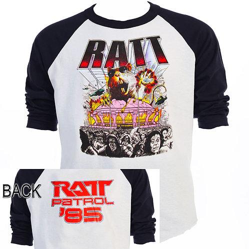 "RATT,""Rat Patrol"" 1985 TOUR Baseball T-665Blk"