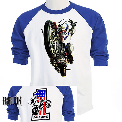 EVEL KNIEVEL ,Snake River era RETRO Baseball, S-3XL, T-Shirt T-802Blue