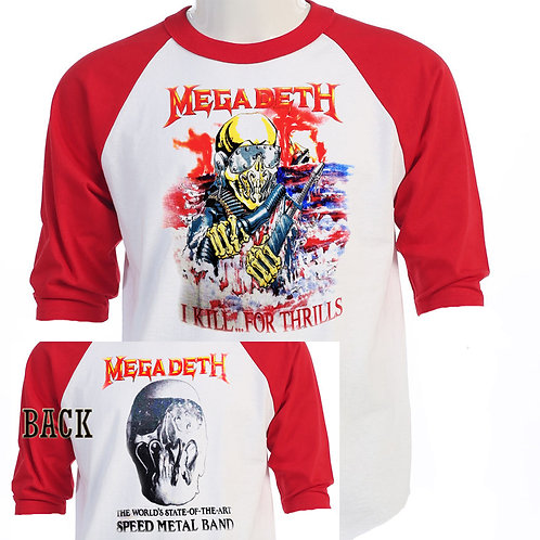 """MEGADEATH,""""I Kill For Thrills TOUR"""" T-704Red"""