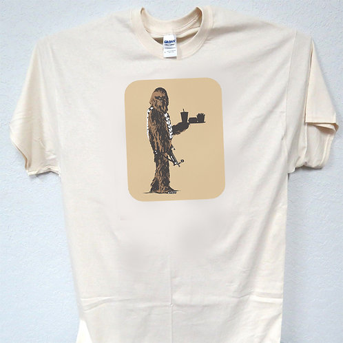 "STAR WARS ""Chewbacca Gotta Eat"" COOL Line Drawing Ivory Men's T-Shirt, T-1537"