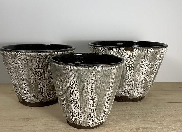 Set of 3 Planters - Crawl Glaze