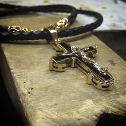 """Золотой крест с эмалью """"Ювелиры Сама"""