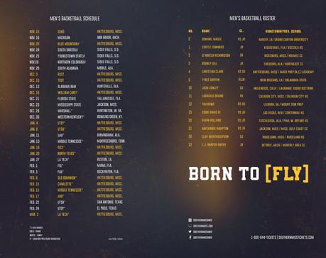 2017-18 Men's Basketball Schedule Card (Inside)