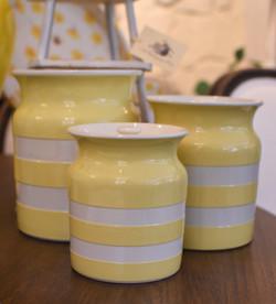 Rare TJ Green Cornishware Cannister Set