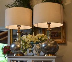 Silver Mercury Glass Lamp w/ Gold Accent