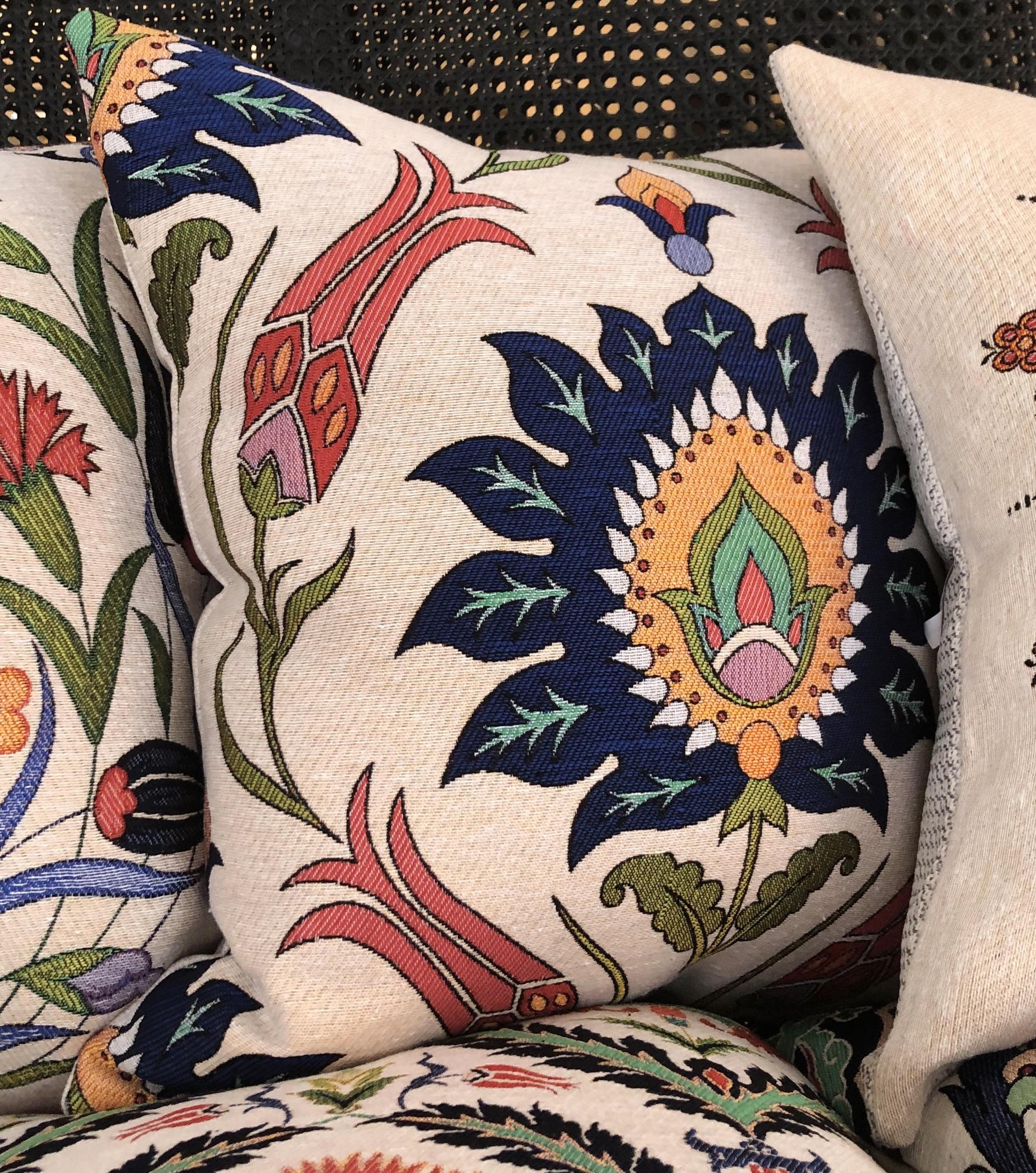 Blue Flower- Cotton Floral Cushions