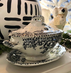 Small Covered Vintage Serving Bowl