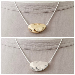 Silver & Gold Necklace with Textured Metallic Stone