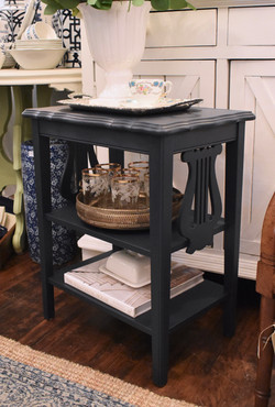 End Table with Harp Detail & Shelf