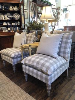 Upholstered Checked Slipper Chair