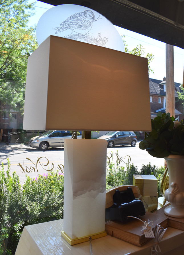Alabaster Lamp with Brass Detail