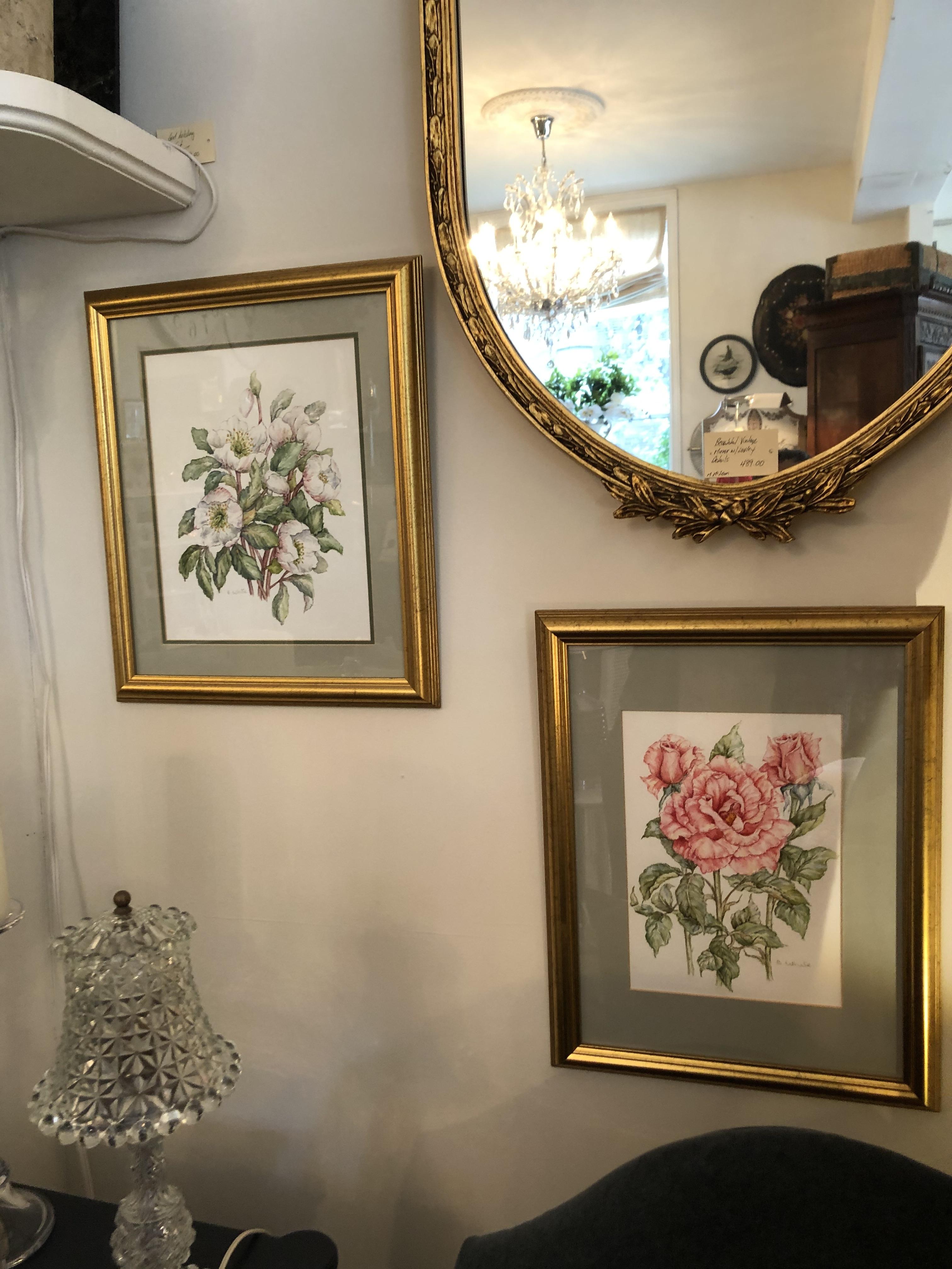 Vintage Framed Watercolour Flowers