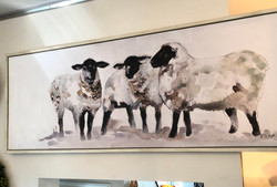 Framed Sheep Painting