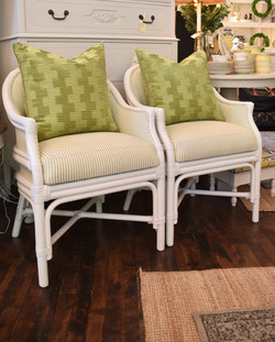 Newly Reupholstered & Painted Cane Chairs