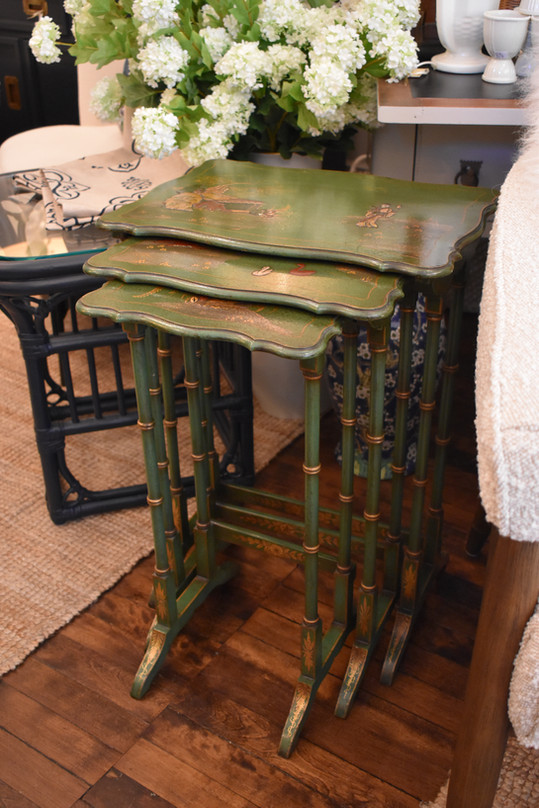 Set of 3 Chinoiserie Nesting Tables