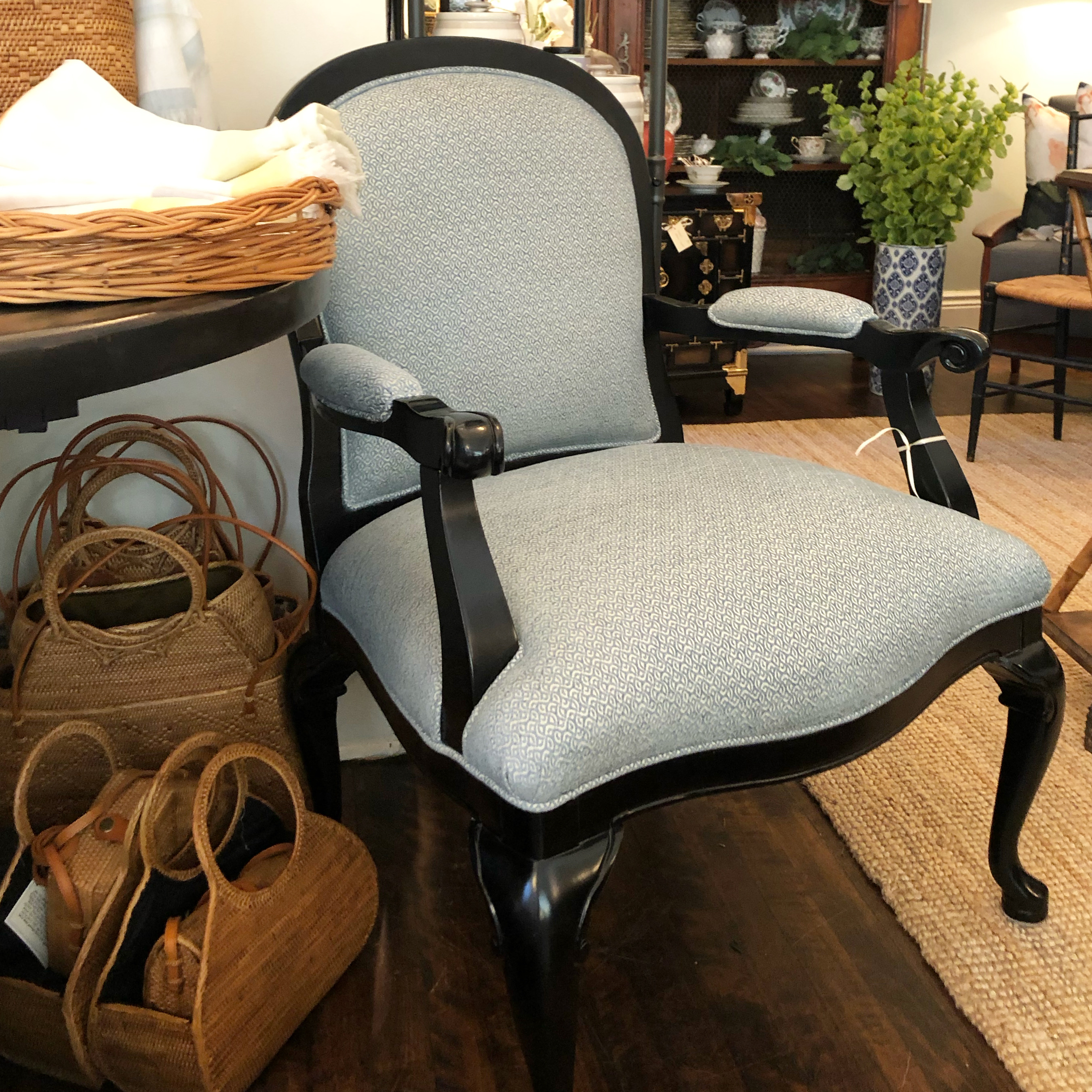 Vintage Upholstered Chair w/ Ebony Wood