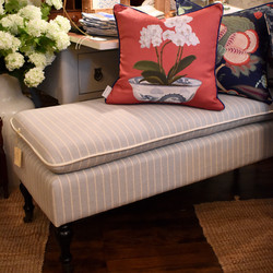 Upholstered Bench - Pale Blue with White Stripe