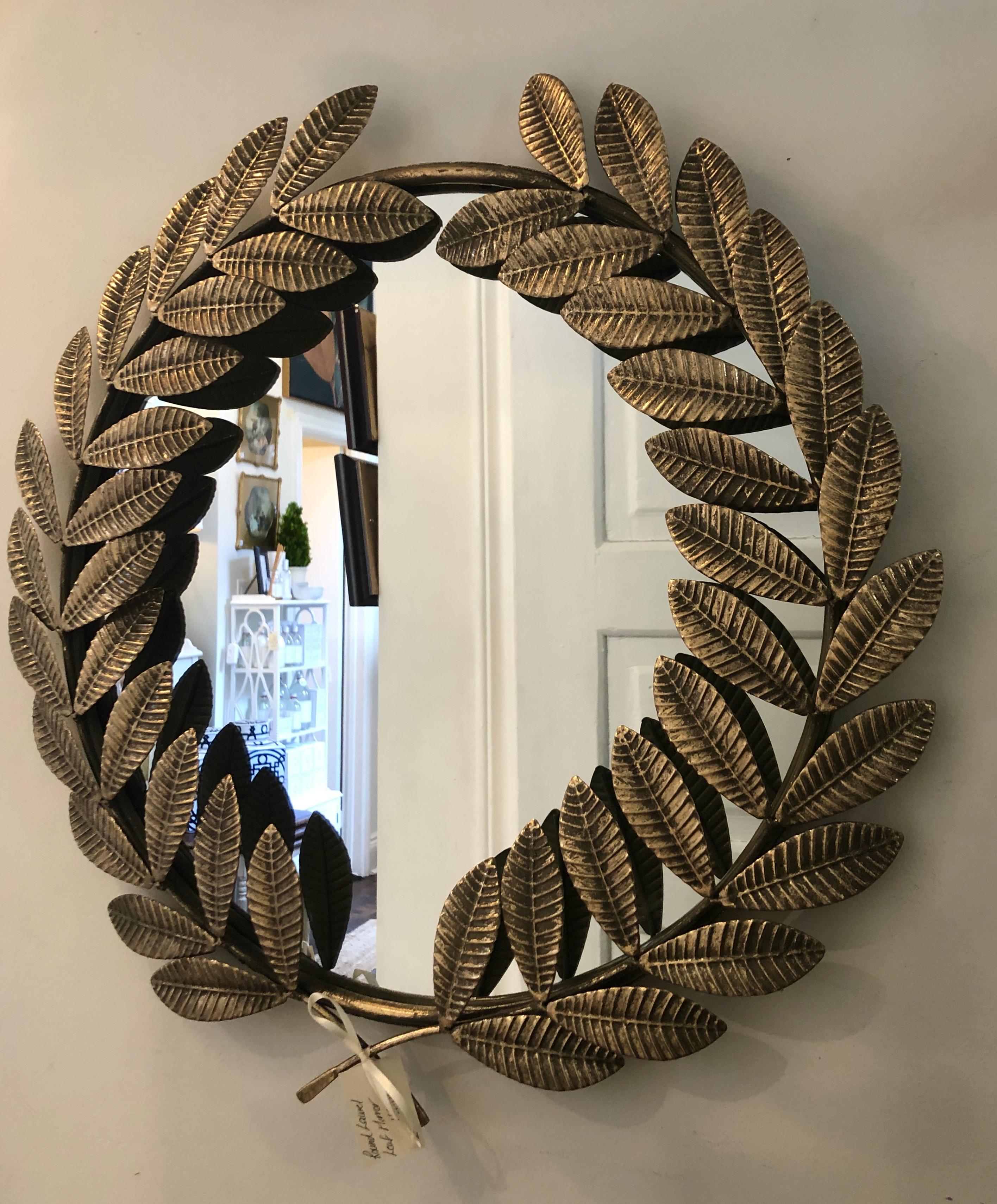 Metal Laurel Leaf Mirror