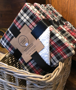 Plaid Throw with Sherpa Lining